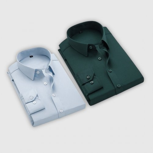 Combo Of 2 Men's Casual Shirts (Ice blue, Bottle Green)