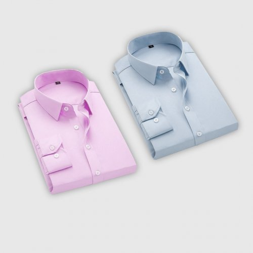 Combo Of 2 Men's Casual Shirts (Pink, Ice blue)
