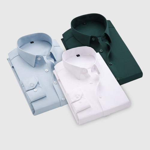 Combo Of 3 Men's Casual Shirts (Ice Blue, Bottle Green, white)