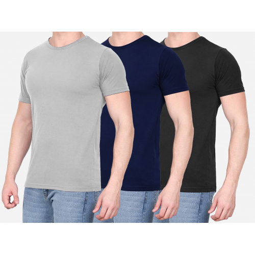Combo Of 3 Men's Casual T-Shirt  (Gray, Black, Blue)