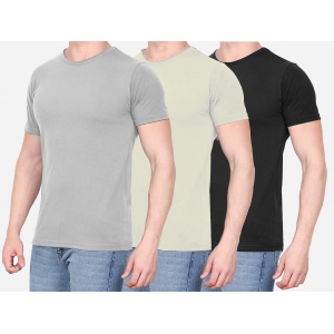 Combo Of 3 Men's Casual T-Shirt (Gray, Cream, Black)