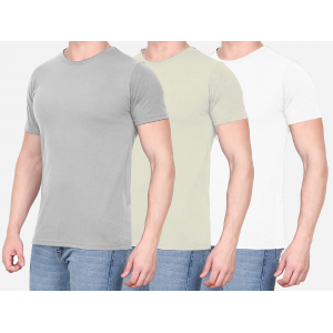 Combo Of 3 Men's Casual T-Shirt (Gray, Cream, White)