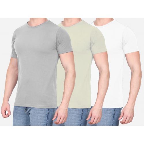 Combo Of 3 Men's Casual T-Shirt (Gray, Cream, White)