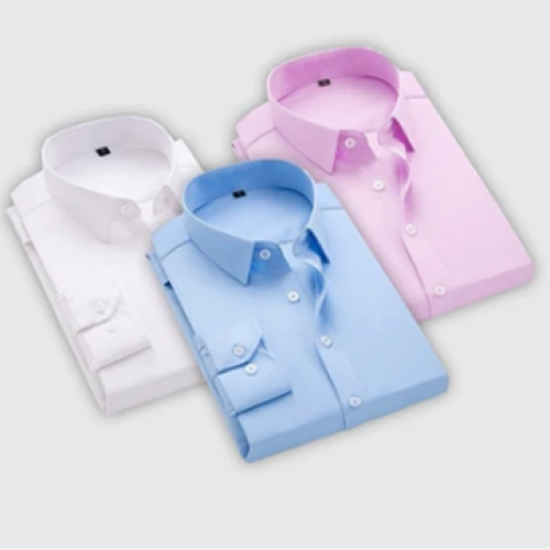 combo of 3 men's plain causal shirts(white,sky blue,pink)